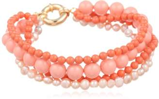Swarovski Four-Row Coated Pearl and Pink Freshwater Cultured Pearl Bracelet with Gold-Tone Clasp