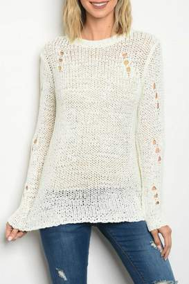 Honey Punch White Knit Top