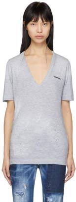 DSQUARED2 Grey Logo Renny V-Neck T-Shirt