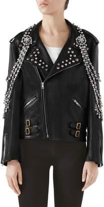 Gucci Back Logo Crystal Embellished Biker Jacket