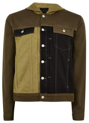 Topman Mens Green Hooded Denim Jacket
