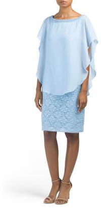 Lace Dress With Chiffon Overlay