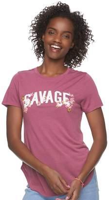 "Juniors' Modern Lux ""Savage"" Floral Graphic Tee"