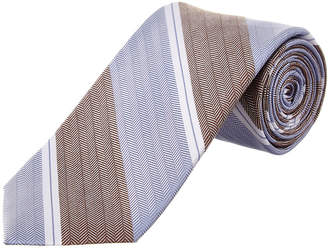 Cole Haan Blue Double Stripe Silk-Blend Tie