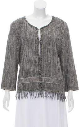 Amo Fringe Accented Knit Cardigan