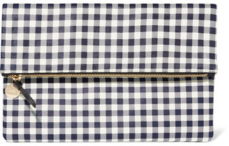 Clare V - Supreme Gingham Leather Clutch - Navy $235 thestylecure.com