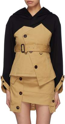 YOHANIX Belted asymmetric trench panel hoodie