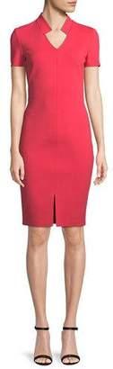 St. John Short-Sleeve Luxe Sculptural Knit Dress