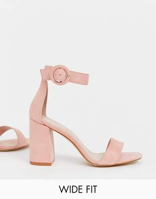 Raid Wide Fit RAID Wide Fit Genna blush block heeled sandals