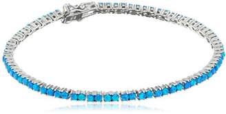 Rhodium Plated Created Blue Opal Bracelet