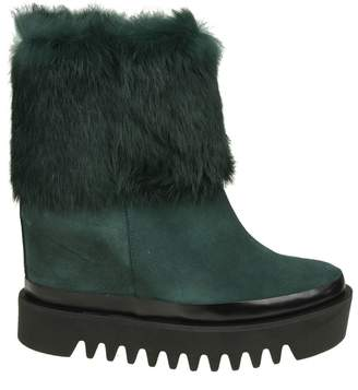 Paloma Barceló Palomitas Suede Leather Ankle Boots Green Color With Fur Detail