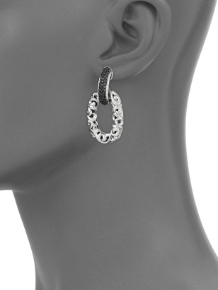Charles Krypell 14K White Gold, Sterling Silver & Black Sapphire Hoop Drop Earrings