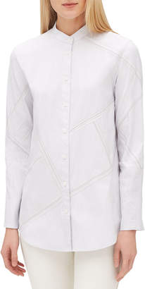 Lafayette 148 New York Lenno Streamline Striped Long-Sleeve Button-Front Blouse