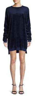 Ruched Velour Sweatshirt Dress