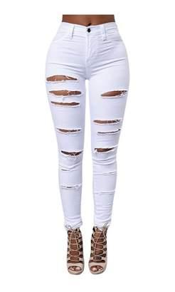 Wowforu Women Ripped Distressed High Waisted Stretch Slim Fit White Denim Skinny Jeans