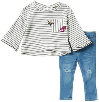 Jessica Simpson Stripe Top & Denim Jeans Set (Baby Girls)