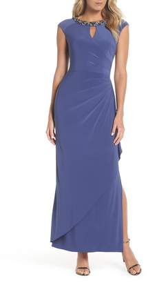 Alex Evenings Embellished Cap Sleeve Gown