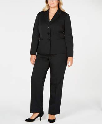 Le Suit Plus Size Three-Button Striped Pantsuit