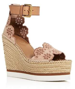 See by Chloe Cutout Suede Espadrille Platform Wedge sandals