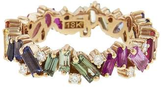 Suzanne Kalan Rainbow Sapphire Baguette Diamond Firework Eternity Ring - Rose Gold