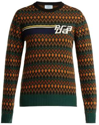 Prada Logo Intarsia Wool And Cashmere Blend Sweater - Womens - Green Multi