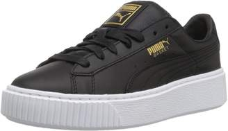 Puma Women's Basket Platform Core Fashion Sneakers, Black/Gold