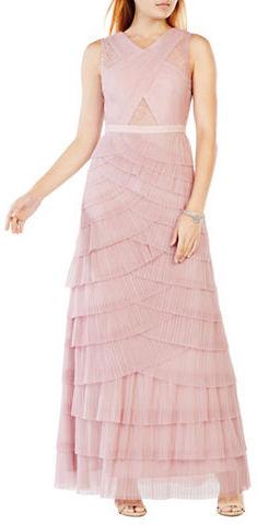 BCBGMAXAZRIABcbgmaxazria Adreanna Sleeveless A-Line Pleated Tulle Gown