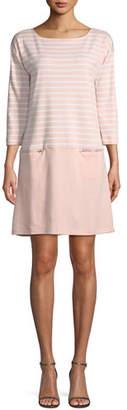 Joan Vass Striped Interlock Dress w/ Zip Pockets