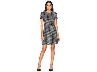 Calvin Klein Check Print Ponte Short Sleeve T-Shirt Body Dress CD8P58QQ