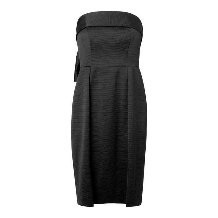 Black Setif Bow Back Straples Dress