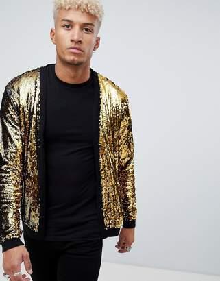 Asos Design DESIGN knitted sequin cardigan with gold and black sequins