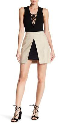 Alice + Olivia Daisy Suede Slit Mini Skirt