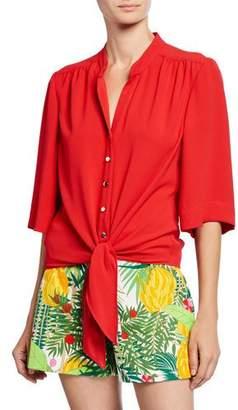 Trina Turk Button-Front 1/2-Sleeve Tie-Hem Top