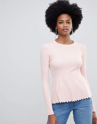 Miss Selfridge knitted top with peplum sweater in pink