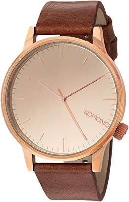 Komono 'Winston' Quartz Stainless Steel and Leather Dress Watch