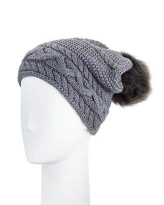 UGG Cable-Knit Beanie w/ Pompom, Steel $65 thestylecure.com
