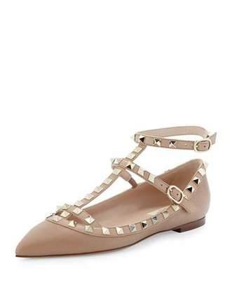 Valentino Rockstud Caged Ballerina Flat, Alpaca $975 thestylecure.com