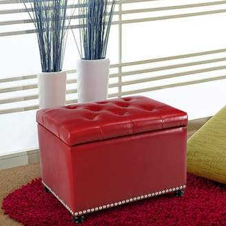 Adeco Trading Adeco Red Bonded Leather Rectangular Ottoman