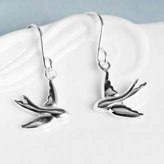 Grace & Valour Swallow Silver Drop Earrings On Personalised Gift Card