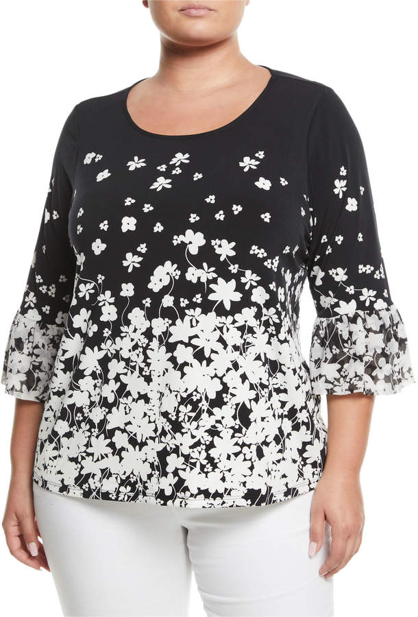 Iconic American Designer 3/4-Sleeve Floral Ombre Blouse, Plus Size