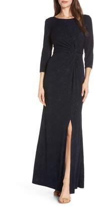 Alex Evenings Knot Front Sequin Jacquard Evening Dress