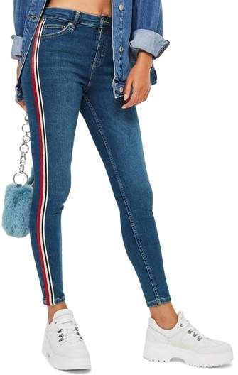 Topshop MOTO Jamie Side Stripe Jeans