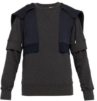 Alexander McQueen Layered Effect Cotton Hooded Sweatshirt - Mens - Dark Grey