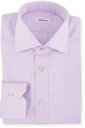 Kiton Men's Striped Barrel-Cuff Dress Shirt