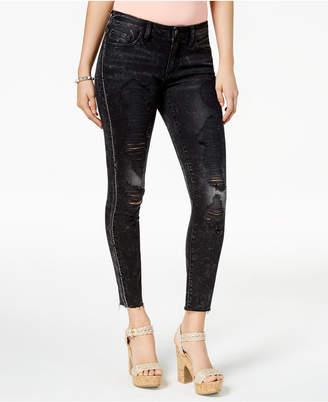 GUESS Rhinestone-Embellished Ripped Skinny Jeans