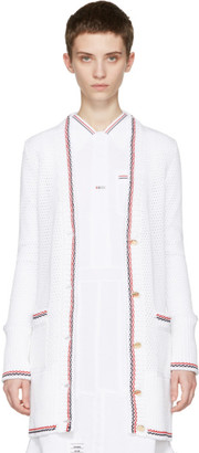Thom Browne White Mesh Stitch V-Neck Cardigan $1,390 thestylecure.com
