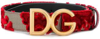 Dolce & Gabbana floral embroidered logo belt