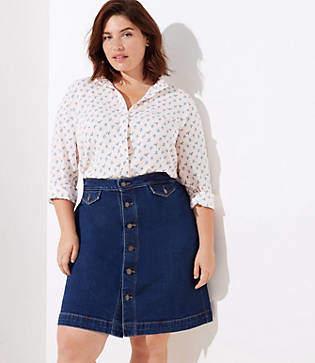 LOFT Plus Button Denim Skirt