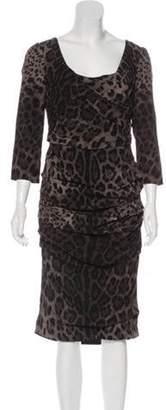 Dolce & Gabbana Silk Printed Dress Grey Silk Printed Dress