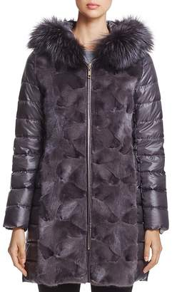 Maximilian Furs Mink Fur Down Coat with Fox Fur Hood